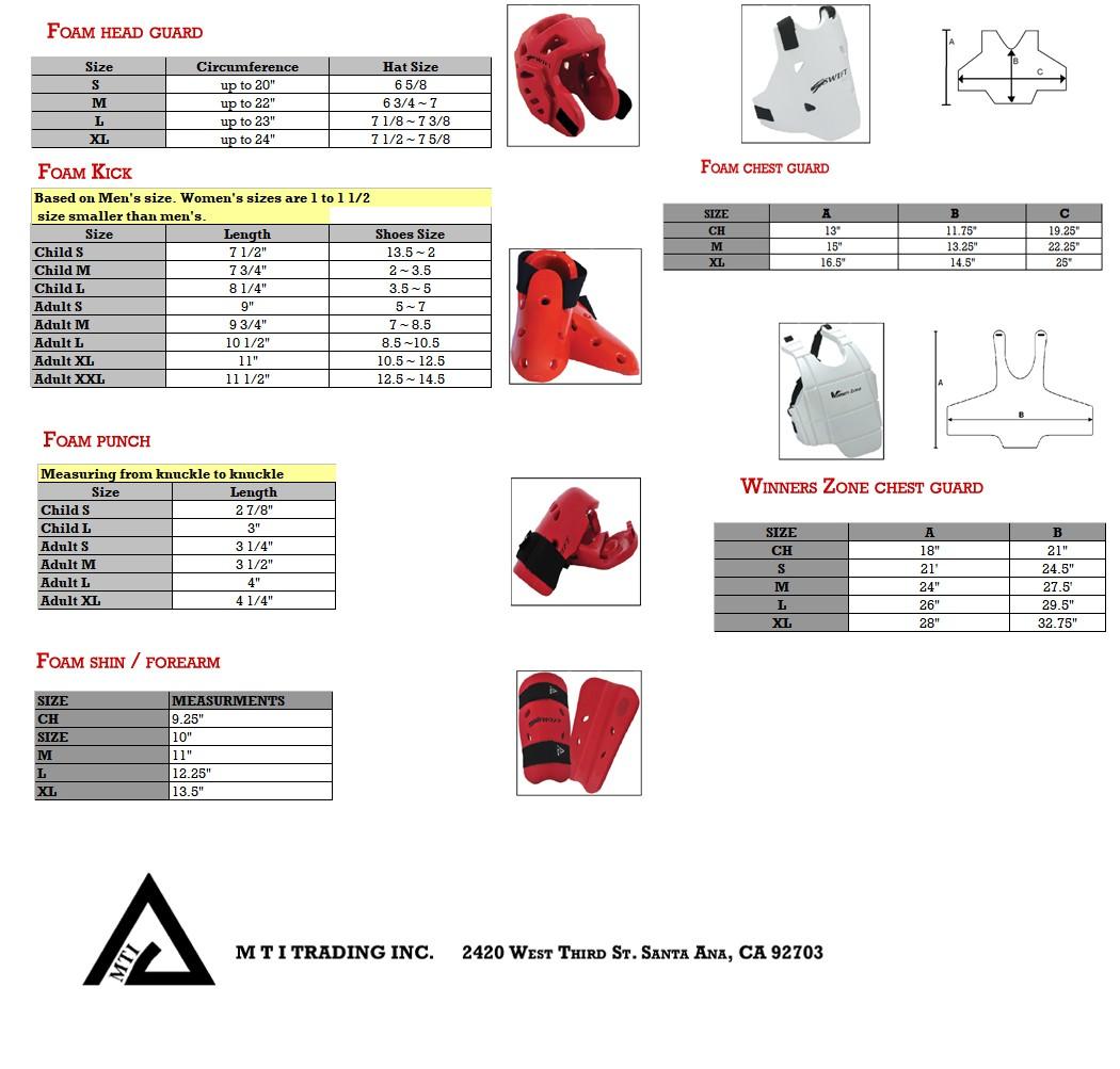 Foam Gear Size Chart